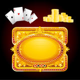 Casino neon sign. Various casino elements cards, chips and neon golden sign, vector illustration Stock Photos