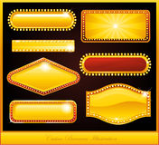 Casino neon sign. Golden casino neon sign billboard collection Royalty Free Stock Photography
