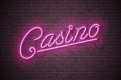 Casino neon sign illustration on brick wall background. Vector light banner or bright signboard design. Stock Images