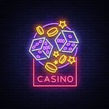Casino is a neon sign. Neon logo, emblem gambling, bright banner, neon casino advertising for your projects. Night light. Billboard, design element. Vector Royalty Free Stock Photo