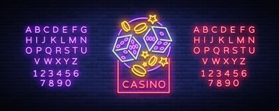 Casino is a neon sign. Neon logo, emblem gambling, bright banner, neon casino advertising for your projects. Night light. Billboard, design element. Vector Royalty Free Stock Photography