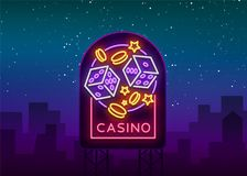 Casino is a neon sign. Neon logo, emblem gambling, bright banner, neon casino advertising for your projects. Night light. Billboard, design element. Vector Stock Photos
