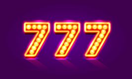 Casino 777 neon signboard, Winner triple sevens. Casino 777 neon signboard, Winner triple sevens, Casino jackpot icon, lucky number, Vector illustration Royalty Free Stock Photos