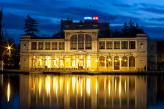 Casino at night. Night shot of a casino in the middle of a lake, with reflections Royalty Free Stock Images