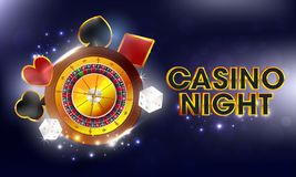 Casino Night banner or poster design with realistic roulette wheel, dices and playing card symbols. Casino Night banner or poster design with realistic roulette vector illustration