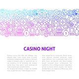 Casino Night Line Design Template royalty free illustration