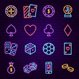 Casino Night Neon Icons stock illustration