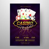Casino Night party invitation card design with playing cards and poker chips illustration on purple rays. Casino Night party invitation card design with playing vector illustration