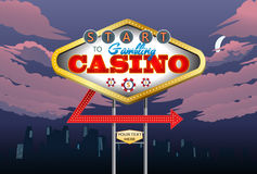 Casino night sign board. Illustration of a casino night sign board on evening city background Royalty Free Stock Photography