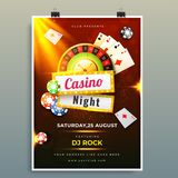 Casino night template or flyer design with chips, coins, playing card. Casino night template or flyer design with chips, coins, playing card and roulette stock illustration
