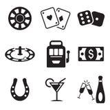 Casino o iconos de juego Imagenes de archivo