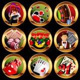 casino o iconos de juego fijados Imágenes de archivo libres de regalías