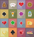 Casino objects and equipment flat icons illustration Royalty Free Stock Photo