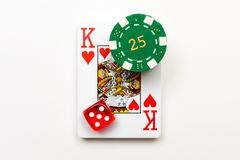 Free Casino Objects Playing Cards Dice Casino Chips Isolated On White For Playing Chance And Gambling Games Royalty Free Stock Photos - 161453738