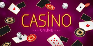 Casino online banner with aces playing cards, chips and dices. On purple background. Winning poker hand stock illustration