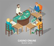 Casino online blackjack game vector illustration. Casino online blackjack game concept. Vector isometric illustration of people playing casino game at virtual royalty free illustration