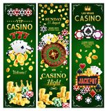 Casino online gambling jackpots banners. Casino jackpot gamble game with risk banners for online gambling. Vector of poker playing cards with suits, money and Stock Illustration