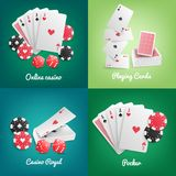 Casino Online Realistic Concept. Casino online 4 realistic green background icons with deck playing cards poker chips dice isolated vector illustration Stock Photos