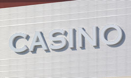 Casino outdoor. Street white  sign Royalty Free Stock Photo