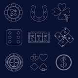 Casino outline design elements Stock Photos