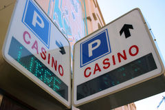 Casino and Parkings Signs in Monaco Royalty Free Stock Images