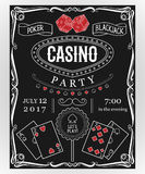 Casino party invitation on chalkboard with decorative elements. Vintage vector illustration stock illustration
