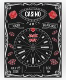 Casino party invitation on chalkboard with fortune wheel, dice, poker chips. Gambling symbols. stock illustration