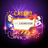 Casino Party Vector. Role the dice - Win big! Casino vector illustration design with poker, playing cards, slots and roulette. Glowing Casino sign. Layered royalty free illustration
