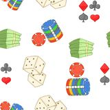 Casino pattern, cartoon style. Casino pattern. Cartoon illustration of casino vector pattern for web Royalty Free Stock Photo