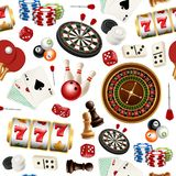 Casino pattern. Poker cards doodle domino bowling darts roulette checkers vector symbols of games seamless realistic. Illustrations. Poker and roulette, dice stock illustration