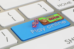 Casino, play online concept on keyboard button, 3D rendering. Casino, play online concept on keyboard button Royalty Free Stock Images
