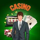 Casino Player Realistic Composition vector illustration