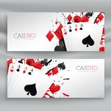 Casino playing cards banners set background. Vector Royalty Free Stock Photography