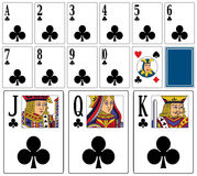 Casino Playing Cards - Clubs. Casino playing cards (you can find the full deck in my portfolio) isolated on white background: clubs suit with joker and back ( Stock Photo