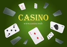 Casino Playing Cards are falling down. Playing Cards rain. Empty advertising poster. Classic green bckground stock illustration