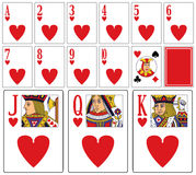 Casino Playing Cards - Hearts. Casino playing cards (you can find the full deck in my portfolio) isolated on white background: hearts suit with joker and back ( Royalty Free Stock Images