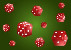 Casino poker classic green background. Falling red dice, isolated. Game concept. Vector illustration vector illustration
