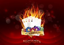 Casino poker banner with chips and poker cards burn in the fire on red background. Illustration of Casino poker banner with chips and poker cards burn in the Stock Photography