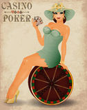 Casino poker beautiful pin up girl Royalty Free Stock Image