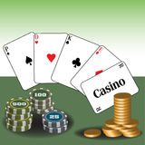Casino poker cards Royalty Free Stock Image