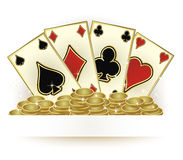 Casino poker cards and golden coins, vector Stock Photo