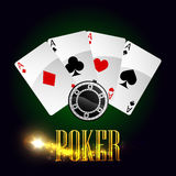 Casino poker cards vector poster Royalty Free Stock Images