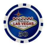 Casino Poker Chip. Fifty Dollar Casino Poker Chip with Las Vegas Logo Royalty Free Stock Photo