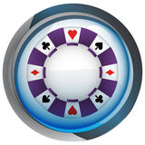 Casino poker chip in shiny glass circle button vector Stock Images
