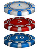 Casino poker chips with cost Royalty Free Stock Photography