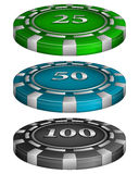 Casino poker chips with cost Stock Photo