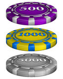 Casino poker chips with cost Royalty Free Stock Photos