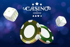 Casino poker chips and dice. Casino game 3D chips mock-up. Online casino banner. Golden realistic chip. Gambling concept. Poker mobile app icon. dice falling stock illustration