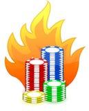Casino poker chips on fire illustration design Royalty Free Stock Photos