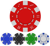 Casino poker chips. Red casino poker chip front view, set of poker chips in vector format Royalty Free Stock Photography